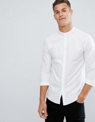 Kiomi Longline Shirt With Grandad Collar In White - White