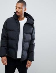 Kiomi Padded Jacket With Hood And Bonded Zip In Black - Black