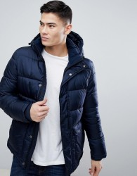 Kiomi Puffer Jacket With Detachable Hood In Navy - Navy