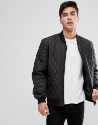 Kiomi Quilted Bomber Jacket In Black - Black