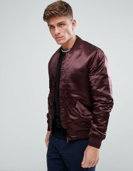 Kiomi Satin Look Bomber Jacket In Burgundy - Purple