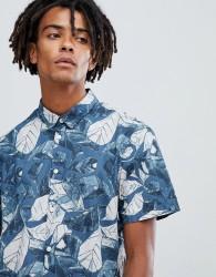 Kiomi short sleeve design shirt in blue - Blue