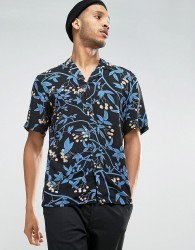 Kiomi Short Sleeve Shirt in Regular Fit with All Over Print - Black