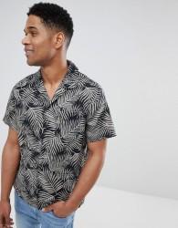 Kiomi Short Sleeve Shirt With Revere Collar In Black Leaf Print - Black