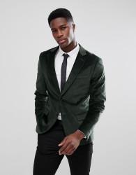 Kiomi Skinny Fit Velvet Blazer In Dark Green - Green