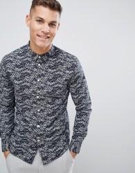 Kiomi Slim Fit Printed Shirt - Grey