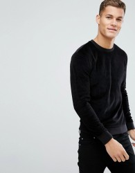 Kiomi Velour Sweatshirt In Black - Black