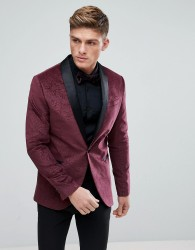 Kiomi Velvet Blazer With Jacquard Design In Red - Red