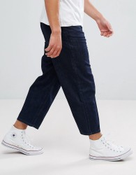 Kiomi Wide Leg Jeans In Rinse Wash - Navy