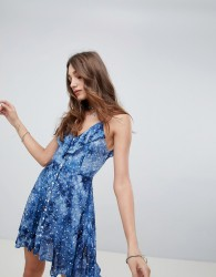Kiss The Sky Button Up Cami Dress In Galaxy Print - Blue