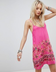 Kiss The Sky Cami Dress With Floral Embroidery - Pink