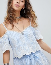 Kiss The Sky Cold Shoulder Crop Top In Pinstripe & Lace Co-Ord - Blue