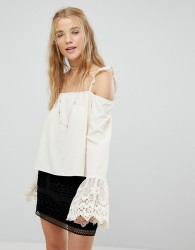 Kiss The Sky Cold Shoulder Strappy Top With Lace Fluted Sleeves - Cream