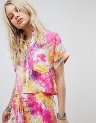 Kiss The Sky Crop Shirt In Tie Dye Co-Ord - Multi