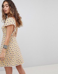 Kiss The Sky Cross Back Button Front Tea Dress In Ditsy Floral - Yellow