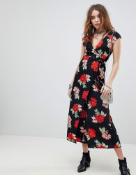 Kiss The Sky Deep V Wrap Front Jumpsuit In Floral Print - Black