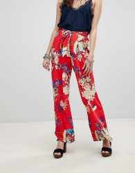 Kiss The Sky Floral Wide Leg Trousers Co-Ord - Red