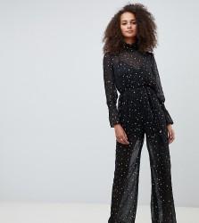 Kiss The Sky high neck sheer jumpsuit in metallic star print - Black