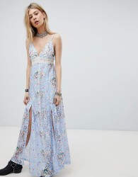 Kiss The Sky Lace Maxi Dress With Front Split And Cut Out Back - Purple