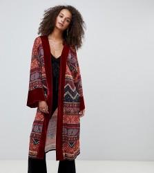 Kiss The Sky longline kimono with velvet trim in paisley celestial print - Red