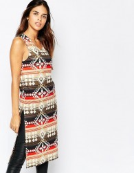 Kiss The Sky Midi Tabbard with Side Splits in Aztec Print - Multi