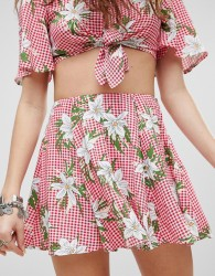Kiss The Sky Mini Skirt In Floral Gingham Co-Ord - Red