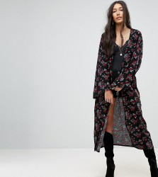 Kiss The Sky Tall Kimono With Metal Ring Trim In Vintage Rose Print - Multi