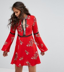 Kiss The Sky Tall Smock Dress With Ladder Inserts In Vintage Floral - Red