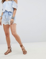Kiss The Sky Tie Front Shorts In Pinstripe & Lace Co-Ord - Blue