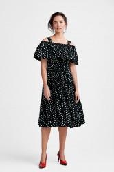 Kjole vmLoka Dot Cold Shoulder Calf Dress