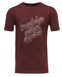 Knowledge Cotton Apparel Print 10423 gots knowledge t-shirt (Bordeaux, XXLARGE)