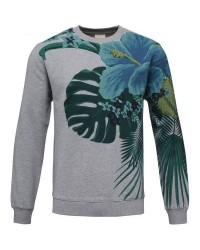 Knowledge Cotton Apparel Sweat w giat flower print 30368 (Lysegrå, SMALL)
