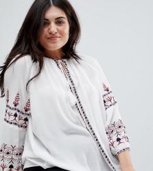 Koko Bohemian Embroidered Long Sleeve Blouse - White