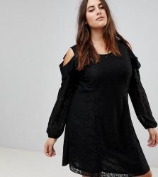Koko Cold Shoulder Ruffle Detail Lace Shift Dress - Black