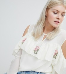 Koko Cold Shoulder Ruffle Top With Embroidery - Cream