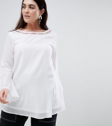 Koko Embroidered Blouse With Bell Sleeves - White