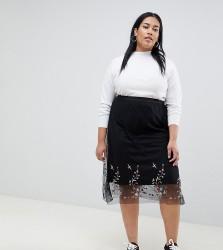 Koko embroidered mesh skirt - Black