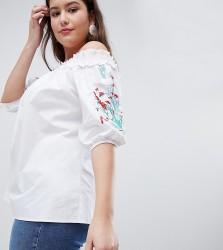 Koko Embroidered Sleeve Bardot Top - White
