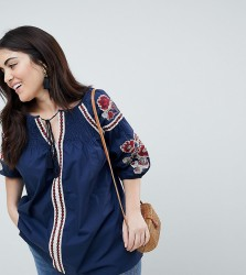 Koko Embroidered Tie Front Detail Blouse - Navy