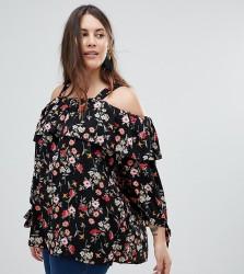 Koko Multi Floral Print Wide Strap Bardot Top - Multi
