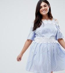 Koko Stripe Lace Trim Cold Shoulder Skater Dress - Blue