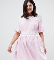 Koko Stripe Lace Trim Cold Shoulder Skater Dress - Pink