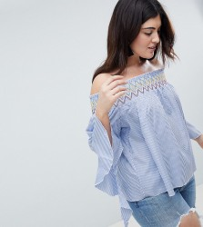 Koko Stripe Off The Shoulder Top With Asymmetric Bell Sleeves - Blue