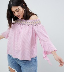 Koko Stripe Off The Shoulder Top With Asymmetric Bell Sleeves - Pink
