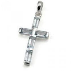 Kors med 5 blå topas - 44mm - u/kæde