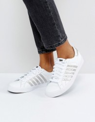 Kswiss Blemont Metallic Trainers In White With Silver Stripe - White