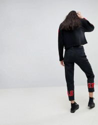 Kubban As If Embroidered Ankle Mom Jeans - Black