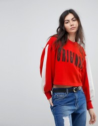 Kubban Balloon Sleeve Original Cropped Sweatshirt - Red