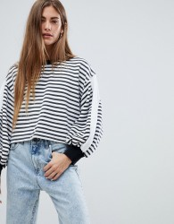 Kubban Balloon Sleeve Striped Cropped Sweat - Black