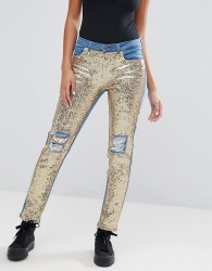 Kubban Distressed Sequin Front Skinny Jeans - Blue